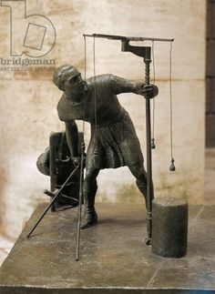 Sculpture representing an agrimensor (land surveyor). Museo Della Civilta Romana (Museum of Roman Civilisation), Roman art Artwork-location: Rome, Museo Della Civiltà Romana (Museum Of Roman Civilisation)