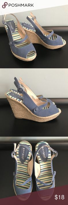BRAND NEW Blue Wedges Blue wedges, never been worn, material is like velvet, sooooo cute on!!!   Size 9 NWOT BAMBOO Shoes Espadrilles