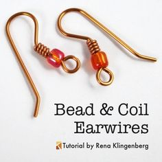 Jewelry Making Tutorials Bead and Coil Earwires - tutorial by Rena Klingenberg - Free jewelry tutorials, plus a friendly community sharing creative ideas for making and selling jewelry. Wire Tutorials, Diy Jewelry Tutorials, Diy Jewelry Making, I Love Jewelry, Jewelry Model, Dainty Jewelry, Luxury Jewelry, Jewelry Ideas, Wire Wrapped Jewelry