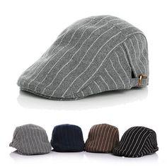 kids boy girl hat stripe gatsby cap golf driving flat cabbie hats