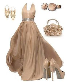 Nude long evening dress - My wedding ideas