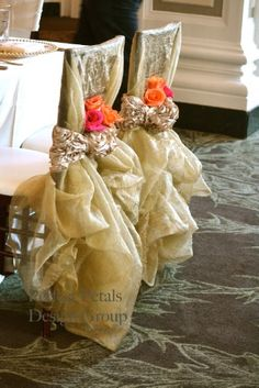 Chair Covers  www.tablescapesbydesign.com https://www.facebook.com/pages/Tablescapes-By-Design/129811416695