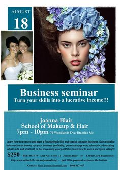 """BUSINESS SEMINAR – How I earn a six figure salary! A message from Jo – """"If you're a makeup artist and would like to know how I turned my skills into a six figure salary every year – this seminar is for you! This is open to all makeup artists – you don't have to …"""