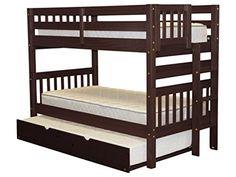 Bunk Bed Twin over Twin with End Ladder and a Twin Trundle Cappuccino ** Details can be found by clicking on the image. (This is an affiliate link)