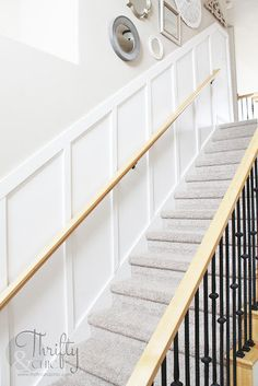 DIY Board and Batten Staircase Makeover Thrifty and Chic - DIY Projects and Home Decor Basement Remodel Diy, Basement Stairs, Basement Renovations, Basement Ideas, Kitchen Remodel, Stair Renovation, Farmhouse Renovation, Stair Decor, Diy Stair