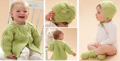 This adorable knitted leaf and lace baby set consists of a foliage-inspired baby jacket with a matching hat and booties. Pattern is rated as intermediate.