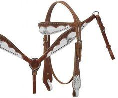 Pistol Fightin' Western Tack Set Headstall & Breast Collar. Hide Overlay in Sporting Goods, Outdoor Sports, Equestrian   eBay