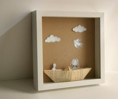 Items similar to My Paper Boat - Original paper diorama - Shadow box on Etsy Diy And Crafts, Crafts For Kids, Paper Crafts, Diorama Kids, Origami, Shadow Box Art, Little Boxes, Box Frames, Altered Art