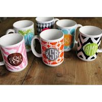 Monogrammed Coffee Mug will brighten your day! From In This Very Room.  Click link for more info.