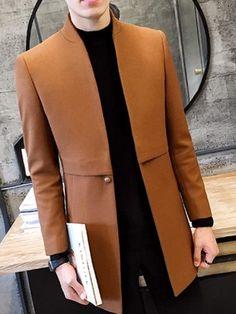 Product Name:Band Collar Single Button Plain Gentlemen Woolen Men Coat Sku: BF49B0C2BA0B Embellishment: Slit Pocket Occasion: Event / Party Package Included: Top / 1 Material: Woolen Collar&neckline: Band Collar Sleeve: Long Sleeve More Details: Single Button Pattern Type: Plain Season: Winter