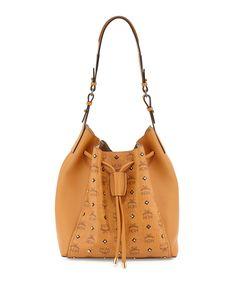 Visetos/Leather Drawstring Bucket Bag, Cognac