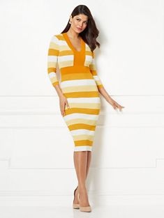 f2f8e3af10501 Francisca Stripe Sweater Dress - Eva Mendes Collection. New York   Company