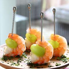 Drunken Grapes with Wine Poached Shrimp!