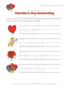 new valentine 39 s day handwriting worksheet from valentine 39 s day pinterest. Black Bedroom Furniture Sets. Home Design Ideas
