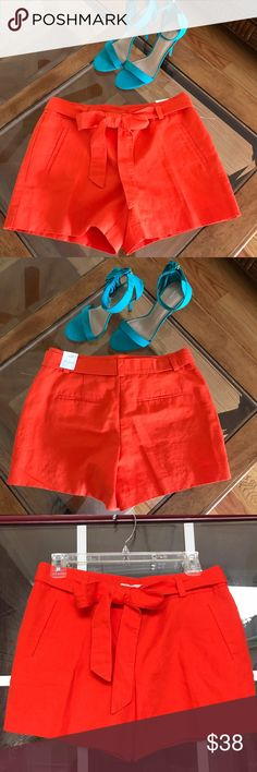 "Ann Taylor Loft belted shorts Kick back in sunny day style with these femme tie-waits  pair from zip with hook and bar closure 4"" inseam!!! Ann Taylor Shorts"