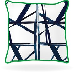 Geometric Pillow with Green Piping