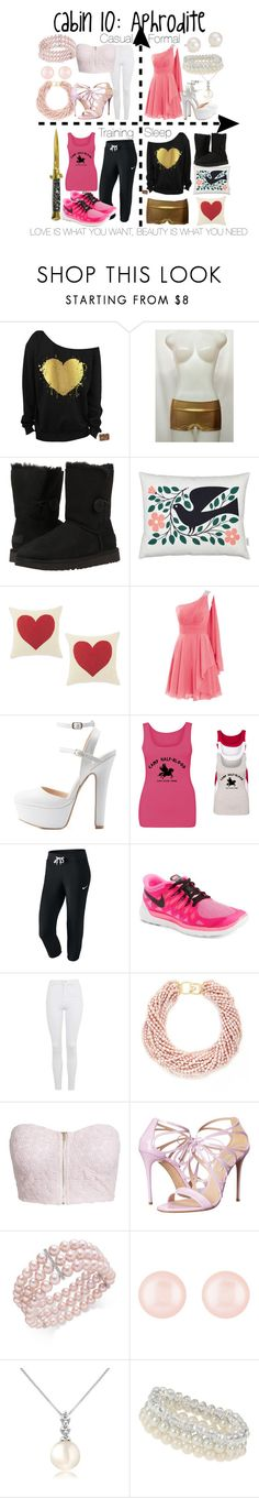 """Cabin 10: Aphrodite"" by aquatic-angel ❤ liked on Polyvore featuring UGG, Vitra, Charlotte Russe, NIKE, Topshop, Kenneth Jay Lane, NLY Trend, Casadei, Henri Bendel and Forzieri"