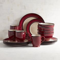 Pier 1 Imports Crimson Reactive Rim 16-Piece Dinnerware Set ($72) ❤ liked on Polyvore featuring home, kitchen & dining, dinnerware, red, pier 1 imports, red dinnerware set, reactive dinnerware, red stoneware and colored dinnerware