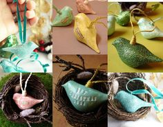 Tutorial for making 3D Clay Bird Ornament - want to make some for #ShabbyChic style decor - no glitter but faux chalk painted, white, and bookpage decoupage - i like the pink one with turned head in nest