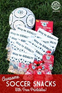 Cute soccer snacks with free printable!