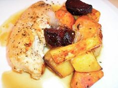 The Briny Lemon: Chicken with Roasted Vegetables in White Wine Sauce