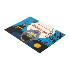 Fun cartoon full moon scary Halloween witch scene Doormat - family gifts love personalize gift ideas diy