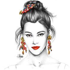 Pauline Hoarau Jewelry Logo, Jewelry Show, Jewelry Art, Fashion Illustration Hair, Jewelry Illustration, Bastille, Pauline Hoarau, Kelly Smith, Woman Sketch