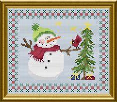 Free Printable Cross Stitch Christmas Snowmen Patterns | Christmas snowman Cross Stitch Pattern by Jennifer Creasey
