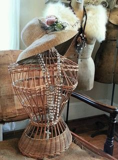 Vintage Wicker Dress Form by shabbychatue on Etsy, $40.00