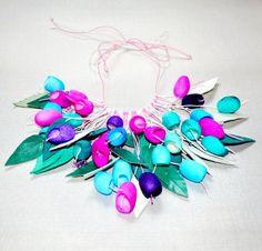 necklace pendants silk cocoon purple lilac pink blue от batikelena