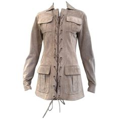 Preowned Yves Saint Laurent By Tom Ford Suede Safari Jacket ($1,950) ❤ liked on Polyvore featuring outerwear, jackets, brown, tom ford jacket, tom ford, zip up jackets, brown suede jackets and suede jacket