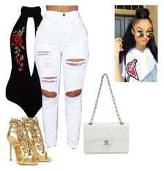 """""""Partying """" by ashfordkeyonna ❤ liked on Polyvore featuring Sans Souci, Giuseppe Zanotti and Chanel"""