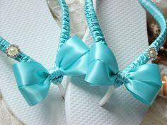Bridesmaid gift FLIP FLOPS Aqua blue Bridesmaid favors