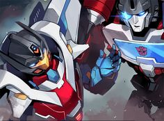 Getaway and Perceptor... Probably by Sarah Stone. Gorgeous.