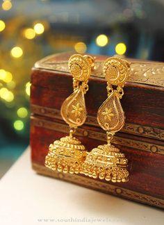 22K Gold Long Jhumka Model, Long Jhumka Designs, Gold Long Jhumka Collections.