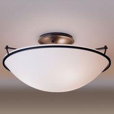 Hubbardton Forge Medium Plain 3 Light Semi Flush Mount Finish: Natural lron, Shade Color: Opal, Bulb Type: (3) 100W A-19 medium base bulbs