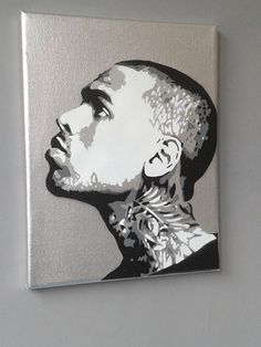 Chris Brown Silver painting,stencils,spray paints on canvas,music,fan Chris Brown Drawing, Chris Brown Art, Chris Brown Style, Graffiti Drawing, Graffiti Art, Stencil Graffiti, Spray Paint On Canvas, Hip Hop Art, Stencil Painting
