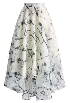 Blooming Camellia Waterfall Frilling Skirt - New Arrivals - Retro, Indie and Unique Fashion
