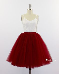 Clarisa - Burgundy Tulle Skirt, 6-Layers Puffy Tutu, Wine Red Princess Tutu, Midi Tutu, Plus Size Tulle Skirt, Adult Tutu https://www.etsy.com/listing/241922844/clarisa-burgundy-tulle-skirt-6-layers