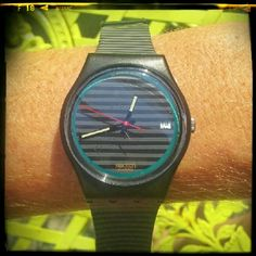 Vintage Swatch Grey Line?GB411 1989? Collectible Vintage Swatch Swiss watch from 1989. The band is cracked and brittle so you need a new band. Also a new battery,  but it comes with the orginal packaging. New old stock. Swatch Accessories Watches