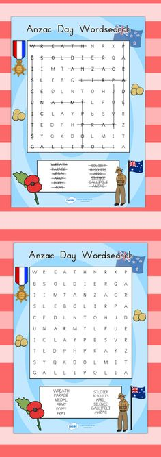 Anzac day wordsearch