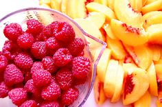 raspberries and peaches.  This looks so much better than the licorice I am eating now.