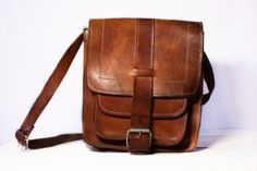 Vintage french real leather BAG  Shabby Chic by RueDesLouves
