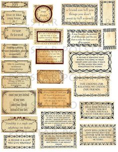 Friendship Quotes ~ Vintage style digital collage sheet by fidgetrainbowtree, via Flickr