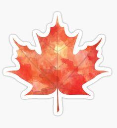 Watercolor Maple Leaf Pegatina