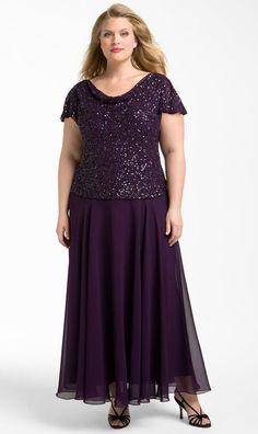 J Kara PLUM PURPLE Beaded, Draped-Neck, Flutter Sleeves Chiffon Gown 22W $278