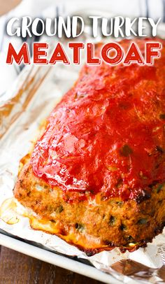 Ground Turkey Meatloaf - Healthy Turkey Meatloaf that's Easy to Make! Try our easy, healthy ground turkey meatloaf. It's a wonderful alternative to traditional beef meatloaf and will save you a few calories without sacrificing flavor! Easy Healthy Meatloaf Recipe, Meat Loaf Recipe Easy, Meatloaf Recipes, Healthy Recipes, Low Sodium Meatloaf Recipe, Healthy Eats, Healthy Foods, Homemade Meatloaf, Healthy Brownies