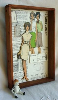 Vintage Sewing I love this idea. I will make color copies of my vintage patterns and make some of these shadow boxes. Love the way the cut her out too. Sewing Room Decor, My Sewing Room, Sewing Art, Sewing Rooms, Vintage Sewing Patterns, Sewing Crafts, Sewing Tips, Sewing Ideas, Sewing Tutorials
