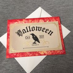 Spooky Halloween card with raven. Ink washed. Handmade. Free shipping.