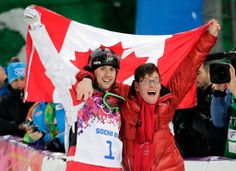 Canada's Alex Bilodeau (left) celebrates with his brother Frederic after winning the gold medal in the men's moguls final at the Rosa Khutor Extreme Park at the 2014 Winter Olympics, Monday, Feb. in Krasnaya Polyana, Russia. Nbc Olympics, Winter Olympics, Olympic Athletes, Olympic Team, Gold Medal Winners, Freestyle Skiing, Olympic Gold Medals, O Canada, Winter Games